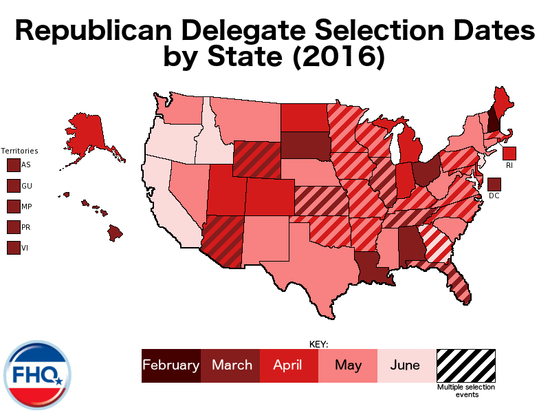 Note On Map Multicolored States Have More Than One Delegate Selection Event A State Convention And Congressional District Conventions Caucuses