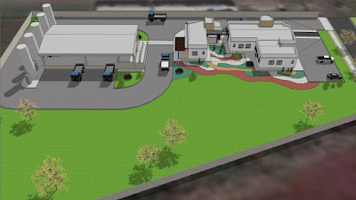 Vista aérea de projeto da nova sede da Oxicam Gases em Paulínia.