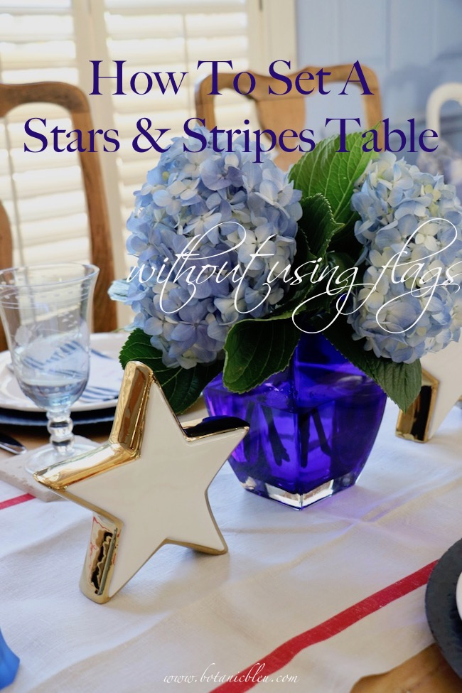 set a stars and stripes patriotic table without using flags