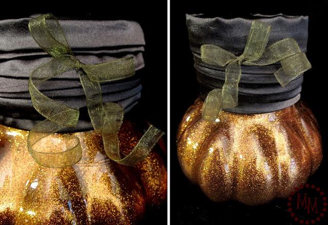 glittered pumpkins - ribbon curly cue