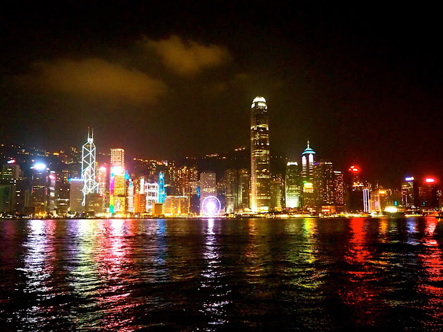 Hong Kong city skyline over Victoria Harbour at night