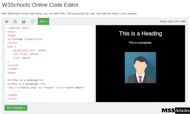 W3Schools Online Code Editor to tyoe and execute a code online