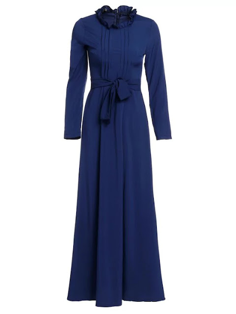 Solid Color Stand Neck Long Sleeve Maxi Dress Purplish Blue