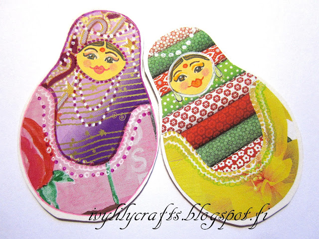 How to make matryoshka doll bookmarks and magnets + free printable templates. Kuinka tehdä maatuska-aiheisia kirjanmerkkejä ja jääkaappimagneetteja + ilmaiset tulostettavat mallit.