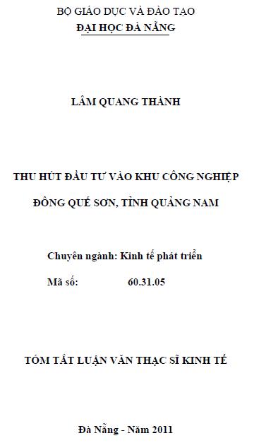 Thu hút đầu tư vào khu công nghiệp đông Quế Sơn tỉnh Quảng Nam