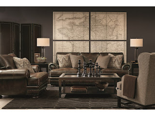 leather couch and map of the world