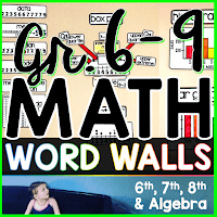 Grades 6-9 Math Word Wall Bundle for grades 6, 7, 8 and Algebra