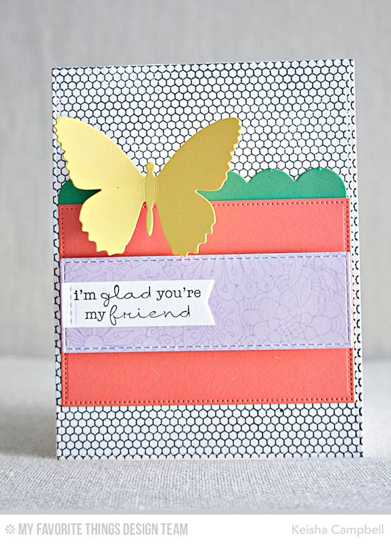 Handmade card from Keisha Campbell featuring Lisa Johnson Designs Delicate Pretty Poppies stamp set, Bundles of Blossoms Background and Mini Hexagon Background stamps, and Horizontal Stitched Strips, Flutter of Butterflies - Solid, Stitched Rectangle STAX, and Blueprints 14 Die-namics #mftstamps