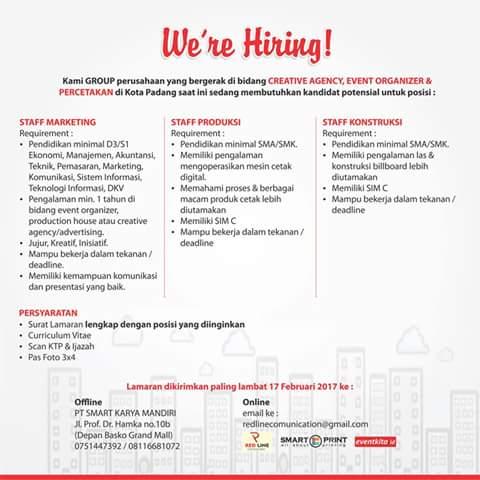 Lowongan Kerja di Padang – PT.Smart Karya Mandiri – 4 Posisi (Penutupan 17 Feb.2p17)