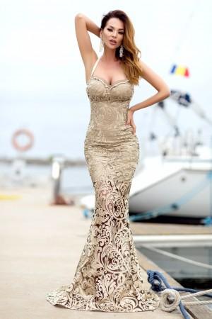 Rochie de lux eleganta lunga bej croi sirena