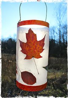 lanterna con foglie vere fai da te