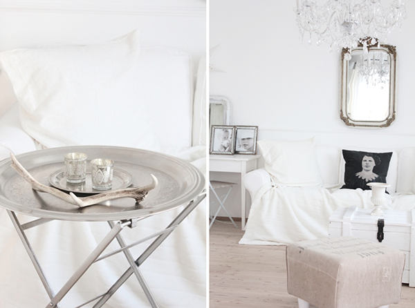 I wish I owned everything in the images above. I've had my eyes set on some Moroccan tray tables for quite a while and I'm always on the hunt for some vintage mirrors. It all looks so very well put together and votives, photo frames and even cushions have been arranged beautifully.