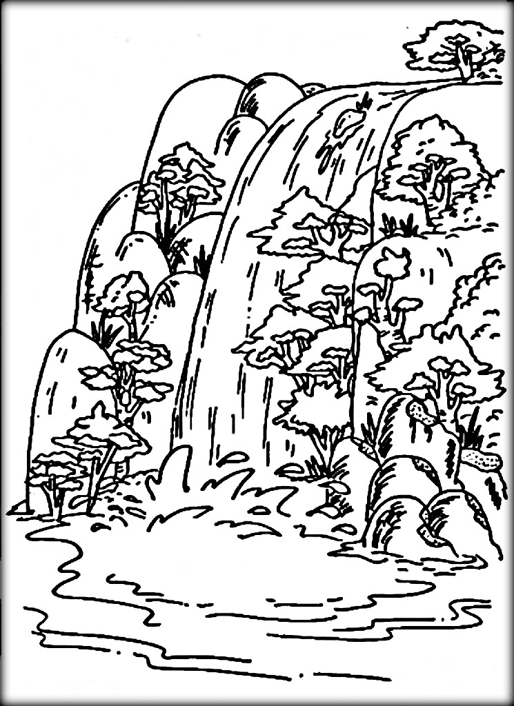 waterfall and pond page coloring pages