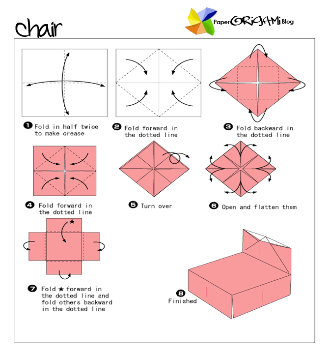 Furnitures Origami: A Chair | Paper Origami Guide