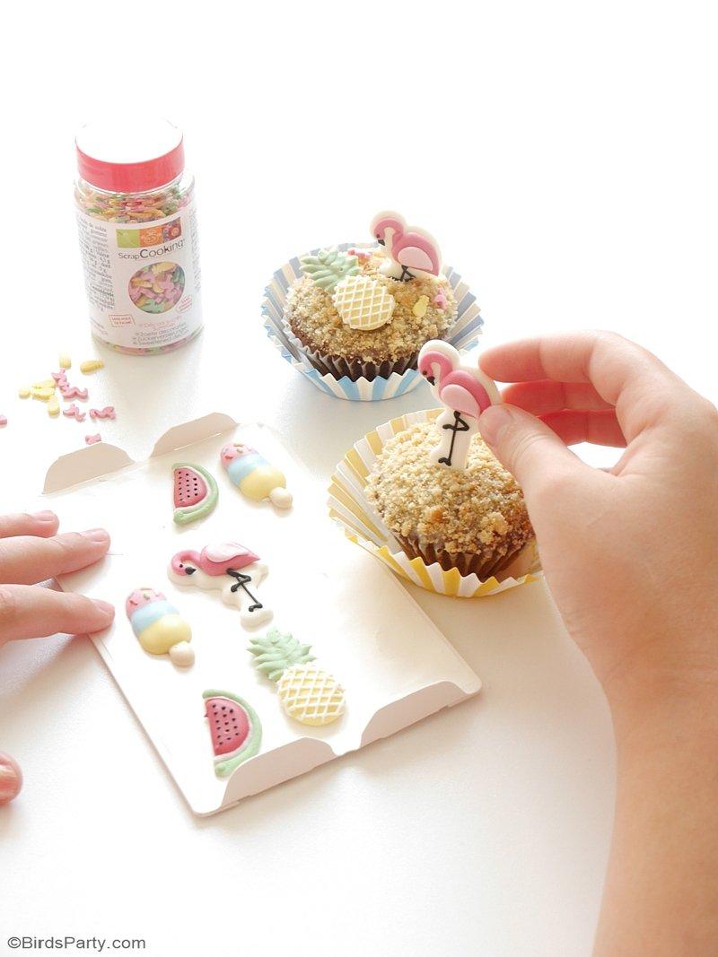 Recette de Cupcakes d'Été Faciles - des cupcakes rapides à faire et décorer avec un glaçage à la pina colada, parfaitement estival! by BirdsParty.fr @birdsparty #cupcakes #fetestivale #recetteapero #apero #recetteestivale #gouterestival #cupcakeestival