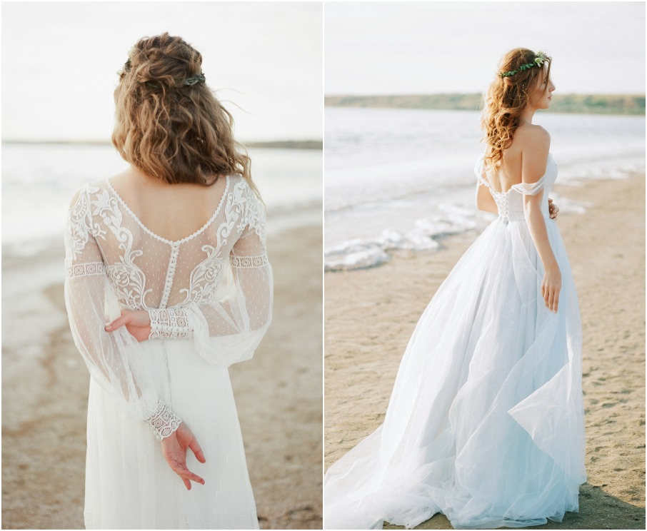 These wedding dresses are from She Wore Flowers and designed by Angellure. The blue wedding dress is off the shoulder and has a blue tulle skirt, whereas the vintage inspired dress has beautiful back detailing.