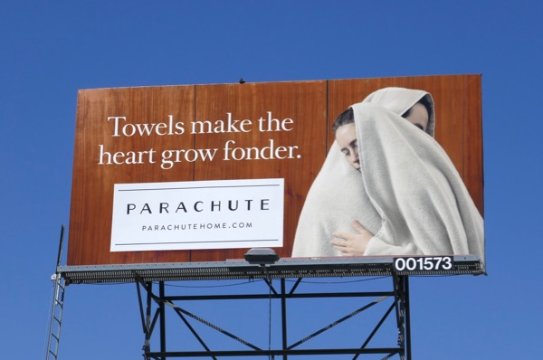 Towels make heart grow fonder Parachute billboard