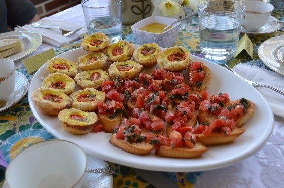 mother's day tea party quiche and bruschetta