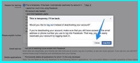 how do you deactivate facebook account temporarily