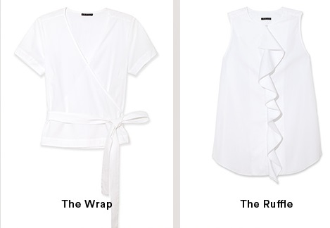 White Wrap & Ruffle Shirts