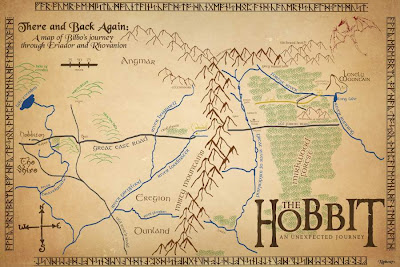 A map of Bilbo journey in The Hobbit