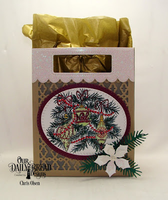 Our Daily Bread Designs Stamp Set: Noel Ornaments, Paper Collection: Christmas 2014, Custom Dies: Card Caddy & Gift Bag, Gift Bag Handles & Toppers, Double Stitched Ovals, Oval Stitched Rows, Peaceful Poinsettia, Pine Branches