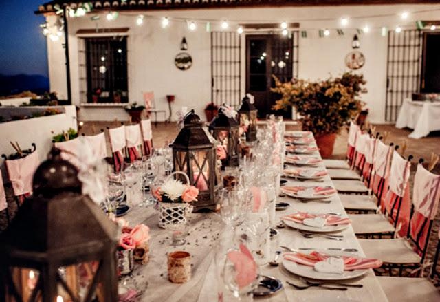 Mesa larga boda romántica Organización bodas Cádiz