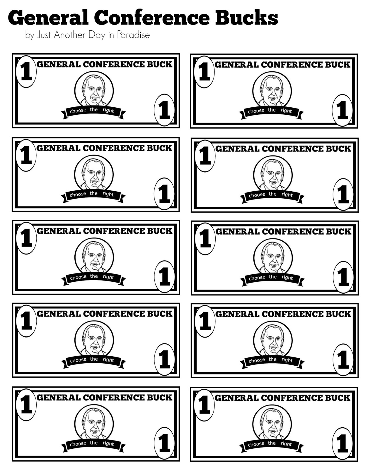 Larissa Another Day General Conference Bucks And Worksheets