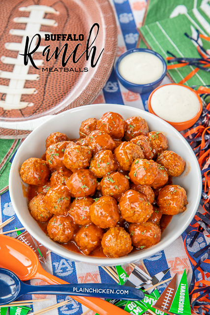 Buffalo Ranch Meatballs - only 3 ingredients! Great for tailgating and parties!! Can make in the slow cooker or stovetop. Everyone goes crazy over this easy appetizer! #tailgating #partyfood #slowcooker #appetizer