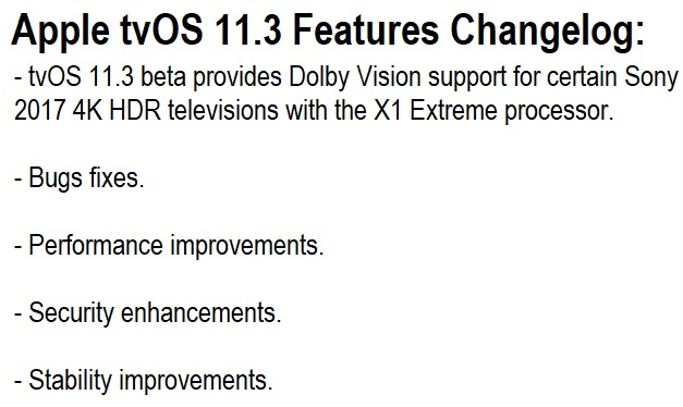 Apple tvOS 11.3 Features Changelog