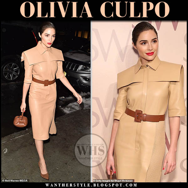 Olivia Culpo wearing camel leather fendi dress and stuart weitzman anny brown pumps fashion week outfits february 2019