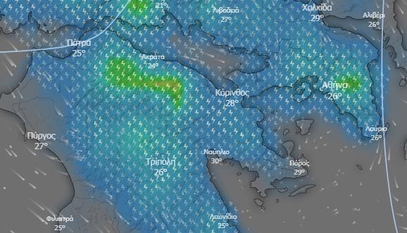 """Κακοκαιρία """"Θάλεια"""": Βροχές και καταιγίδες μετά το μεσημέρι και στην Αργολίδα"""