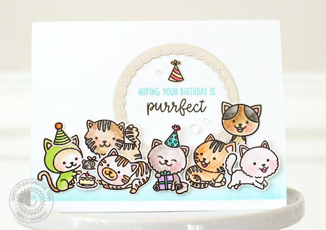Sunny Studio Stamps: Purrfect Birthday & Fancy Frames Birthday Card by Nancy Damiano