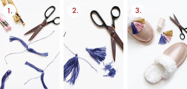 Make Tassel Trimmed Slippers