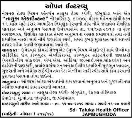 National Health Mission, Jambughoda Recruitment 2016 for Taluka Accountant