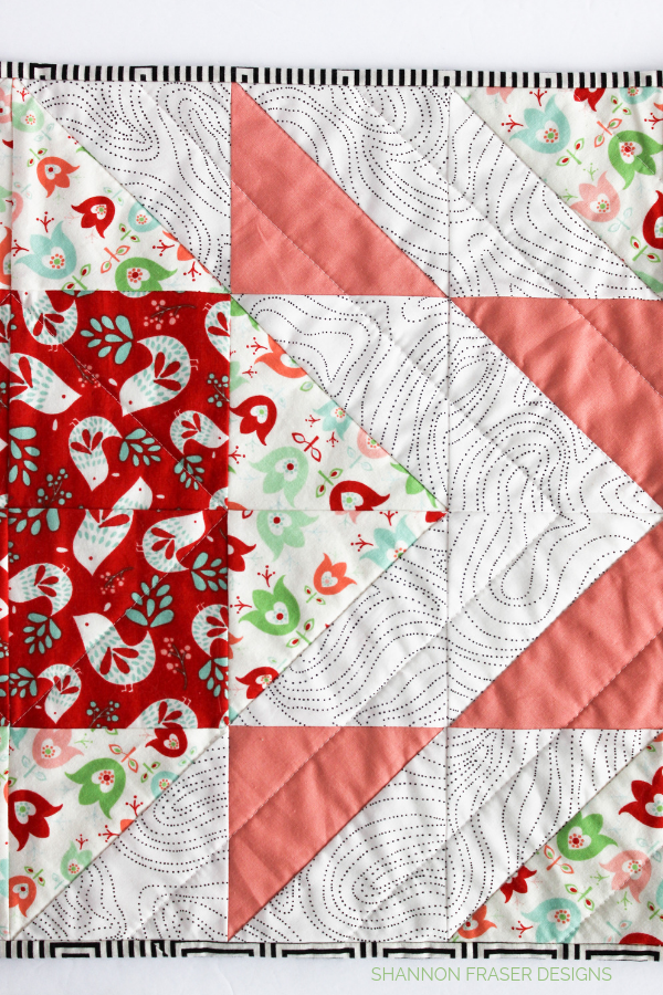 Quilting detail of the Holiday Modern Aztec Quilted Table Runner | Shannon Fraser Designs