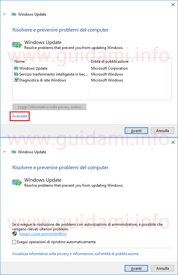 Strumento Microsoft per riparare problemi Windows Update