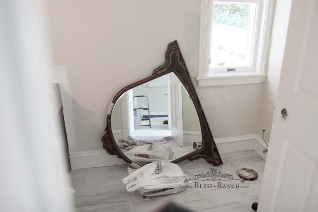 Thrift Store Decor Painted Mirror, Bliss-Ranch.com