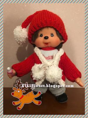 kiki monchhichi noël tricot fait main handmade christmas poupée doll kinitting