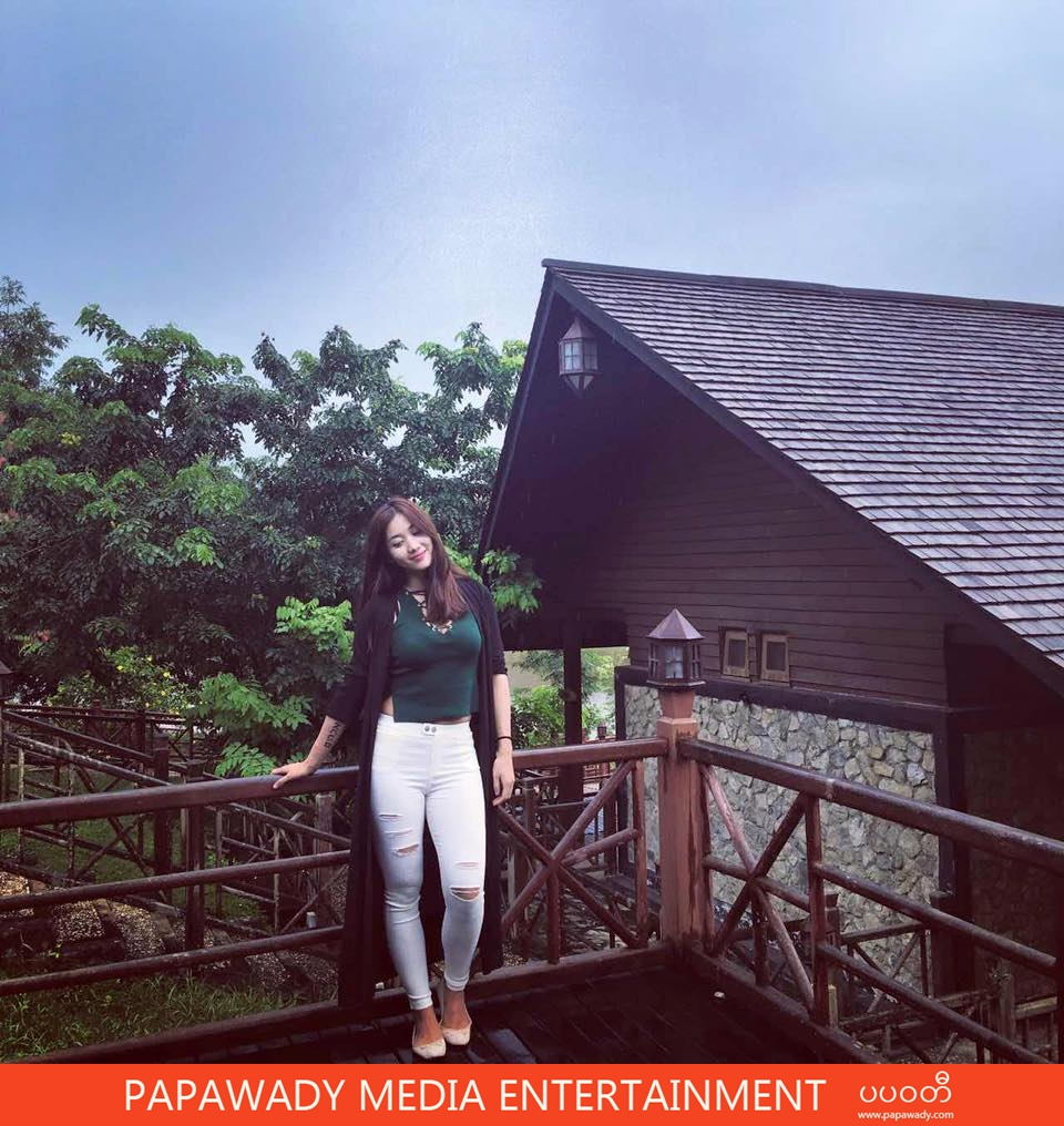 Lu Lu Aung Shows off Her Fashion And Body Curve In White Jeans and Green Outfit