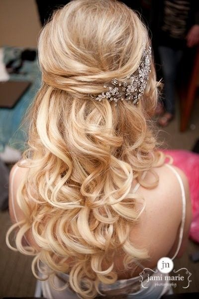Wedding hairstyles half up half down 2016 fashion newbys blonde half up half down curly wedding hairstyles with accessoy solutioingenieria Images