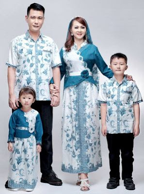 Gambar baju muslim batik kombinasi polos
