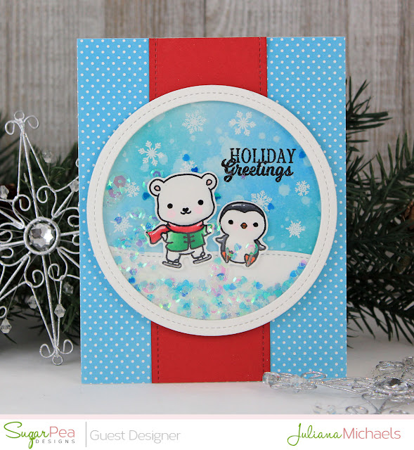 Holiday Greetings Christmas Shaker Card by Juliana Michaels featuring Eskimo Kisses Stamp Set by Sugar Pea Designs