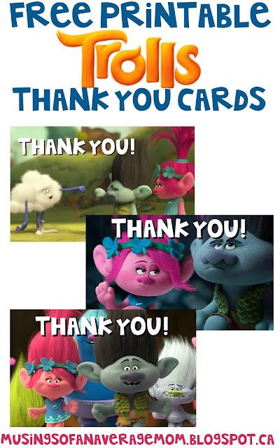 Free Printable Trolls Thank You Cards