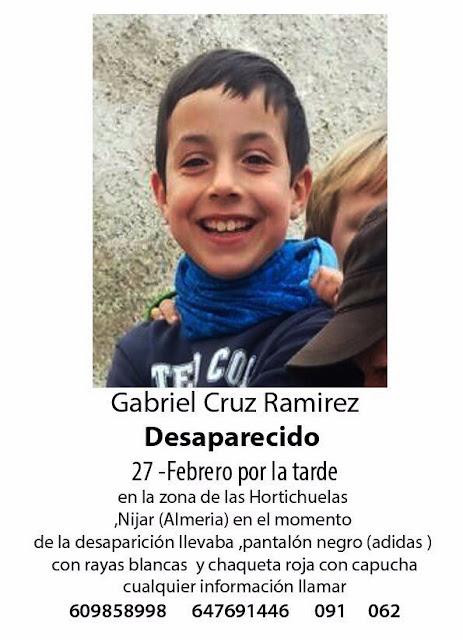 Gabriel Cruz Ramírez, niño, desaparecido, Nijar, Almería, Hortichuelas