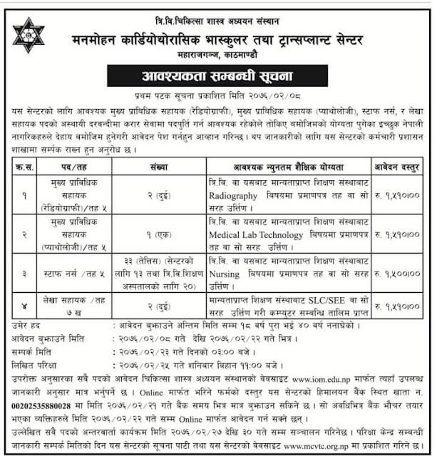 Job Vacancy at Tribhuvan University Institute of Medicine,