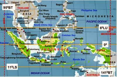 adalah posisi letak negara Indonesia berdasarkan garis lintang dan garis bujur Letak Astronomis Indonesia Lengkap