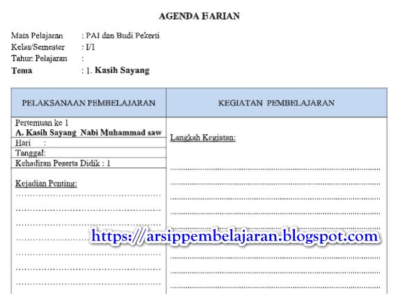 Jurnal Harian PAI / Agenda Harian Guru Kelas 1 SD/MI Kurikulum 2013 Tahun 2018