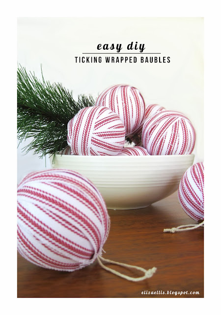 Easy DIY Ticking Wrapped Baubles