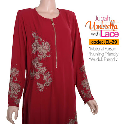 Jubah Umbrella Lace JEL-29 Red Depan 9